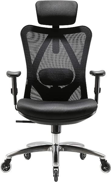XUER Ergonomics Office Chair Mesh Computer Desk Chair Adjustable Headrests Chair Backrest And Armrest S Mesh Chair Black