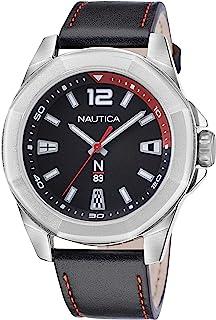Nautica Men's Quartz Leather Strap, Black, 22 Casual Watch (Model: NAPTBF105)