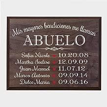 LifeSong Milestones Bendiciones familiares personalizadas Wall Plaque Regalo para Padres, Abuelos, mamá o papá con nombres de niños y fechas de nacimiento de 12