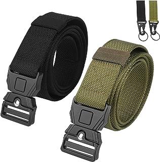 Brynnl 2 cinturones tácticos para hombres, cinturones de cintura de nailon estilo militar con hebilla de liberación rápid...