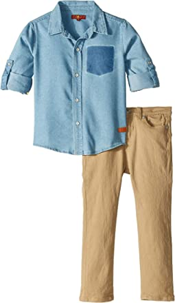 Two-Piece Twill Set - Denim, Stretch Twill (Toddler)