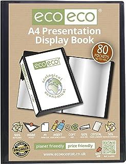 eco-eco A4 Size 50% Recycled 80 Pocket Black Presentation Display Book, Storage Case Portfolio Art Folder with Plastic Sleeves