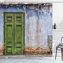Ambesonne Rustic Shower Curtain, Colored House with a Pastel Weathered Rustic Door Old Days Back Then Buildings Photo, Cloth Fabric Bathroom Decor Set with Hooks, 84 Long Extra, Blue Green
