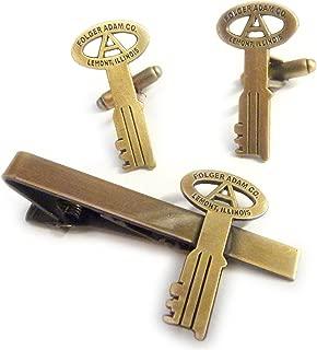 Folger Adam Co Jail Cell Prison Replica Key TIE BAR CLIP CUFFLINKS SET