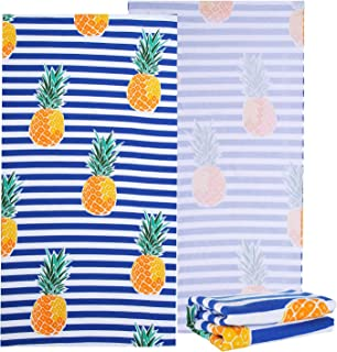 """NovForth Microfiber Beach Towel for Men Women, Outdoors Pool Beach Towels for Gril, Oversized Classic Towels Pineapple 30""""..."""