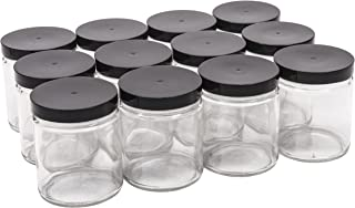 North Mountain Supply 9 Ounce Glass Straight Sided Mason Canning Jars- with 70mm Black Plastic Lids - Case of 12