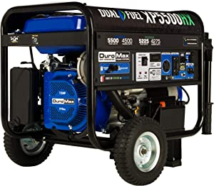 DuroMax XP5500HX Dual Fuel Portable Generator-5500 Watt Gas or Propane Powered Electric Start w/CO Alert, 50 State Approved, Blue