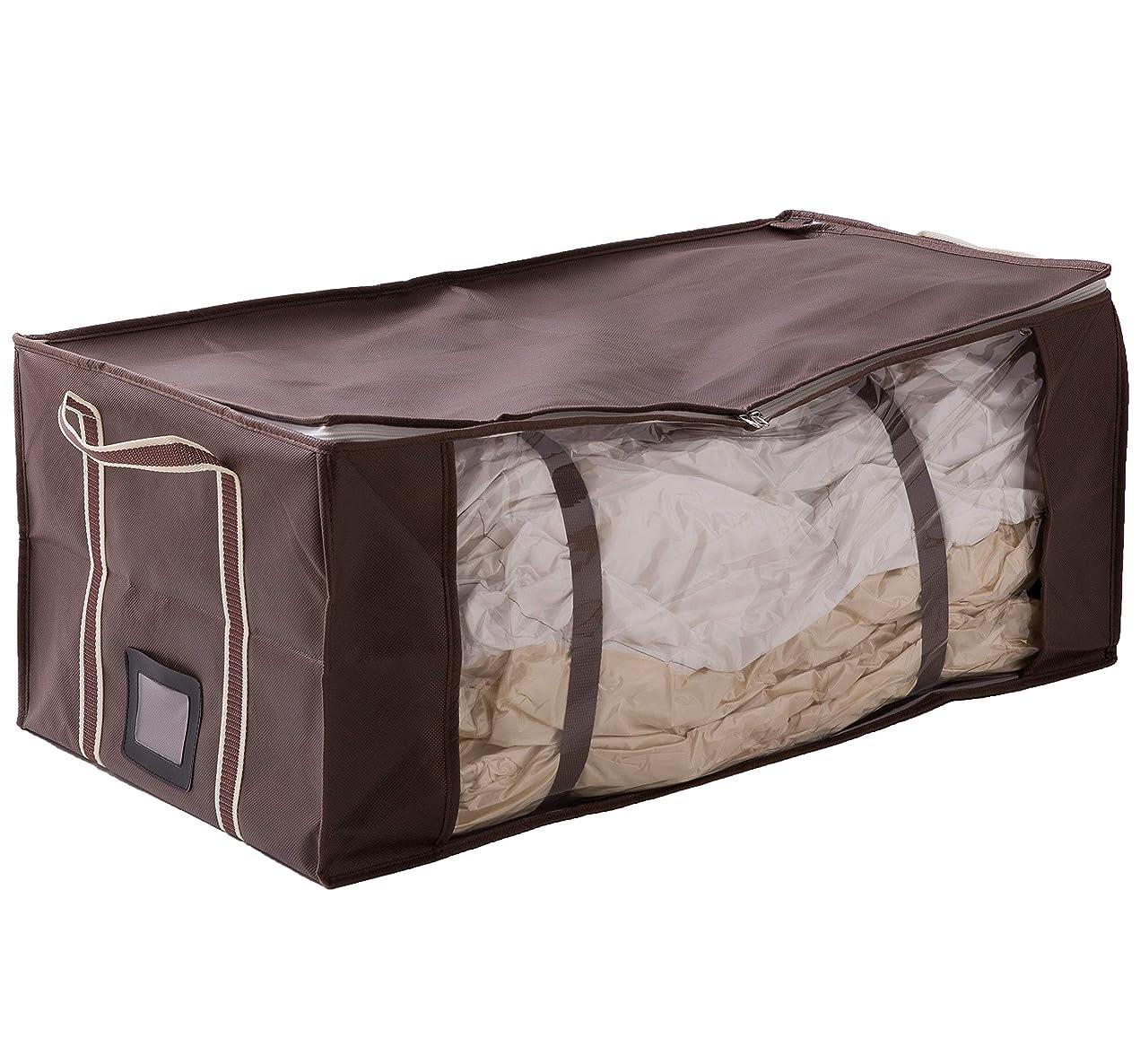 スクワイア場所大脳衣類も布団もラクラク圧縮ボックス(収納ケース&圧縮袋合体タイプ) レギュラー ブラウン 47210006