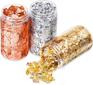 Gold Foil Flakes for Resin, Paxcoo Imitation Gold Foil Flakes Metallic Leaf for Nails, Painting, Crafts, Slime and Resin J...