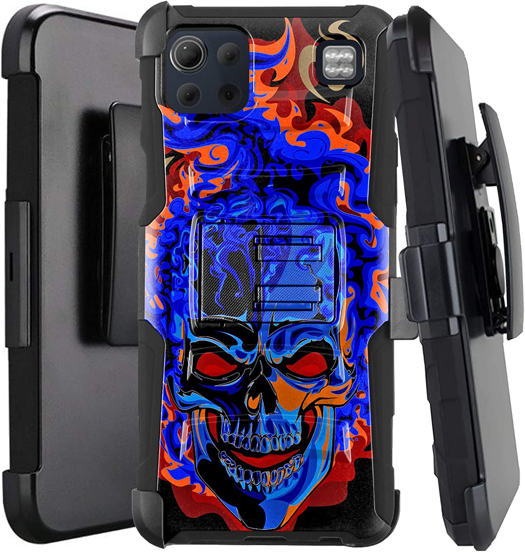 DALUX Hybrid Kickstand Holster Phone Case Compatible with LG K92 5G (2020) - Blue Burning Skull