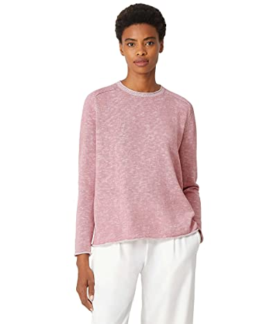 Eileen Fisher Crew Neck Flat Saddle Sweater in Organic Cotton Linen Slub