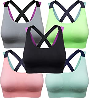 BAOMOSI Racerback Sports Bra Padded Seamless High Impact Support Yoga Gym Workout Fitness