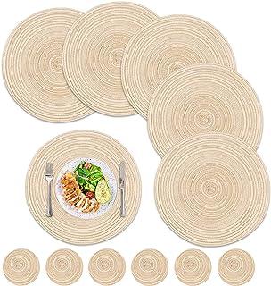 12pcs Sets de Table Ronds napperons en Coton tissé résistant à la Chaleur napperons antidérapants et lavables et sous-Verr...
