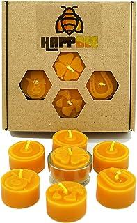 Bienenwachs Teelichter Set Geschenkbox mit Glücksmotiven | Teelichthülle Glas | honiggelb & duftend aus reinem natürlichem Bienenwachs | Manufaktur | Geschenk