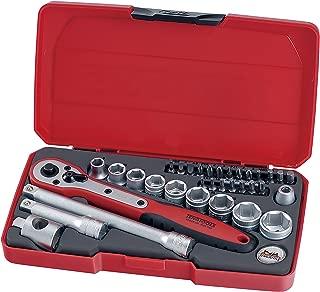 Teng Tools 34 Piece 3/8 Inch Drive 6 Point Metric Regular/Shallow Socket Set (8mm - 19mm) - T3834
