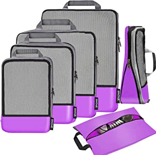 Bagail 6 Set Compression Packing Cubes Travel Expandable Packing Organizers (Purple Mesh)