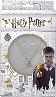 Harry Potter Deathly Hallows Necklace and Stud Earring Gift Set