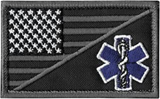 LEGEEON ACU EMS EMT Star of Life USA Flag Subdued Paramedic Medical Morale Tactical Army Gear Fastener Patch