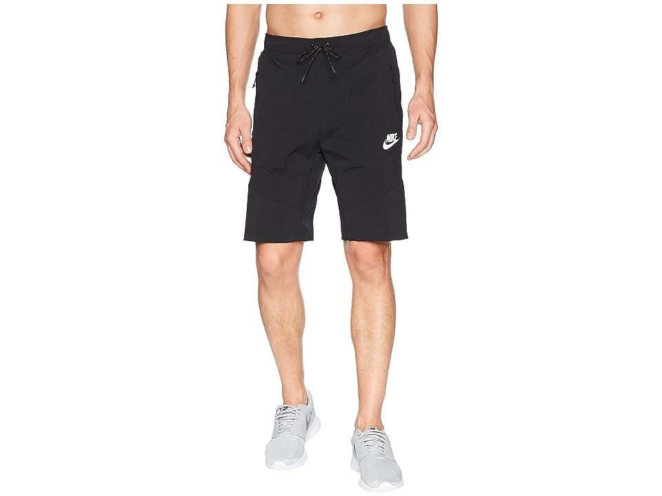 Nike NSW AV15 Woven Shorts (Black/Black/White) Men