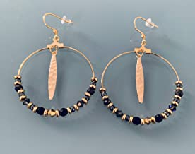 Creoli bohémien con francobolli e perle, gioielli da donna, creoli d'oro, gioielli d'oro, gioielli regalo, regalo per le d...