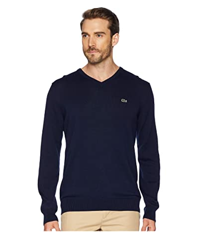 Lacoste Long Sleeve Half Moon V-Neck Jersey Sweater (Navy Blue/Flour/Navy Blue) Men