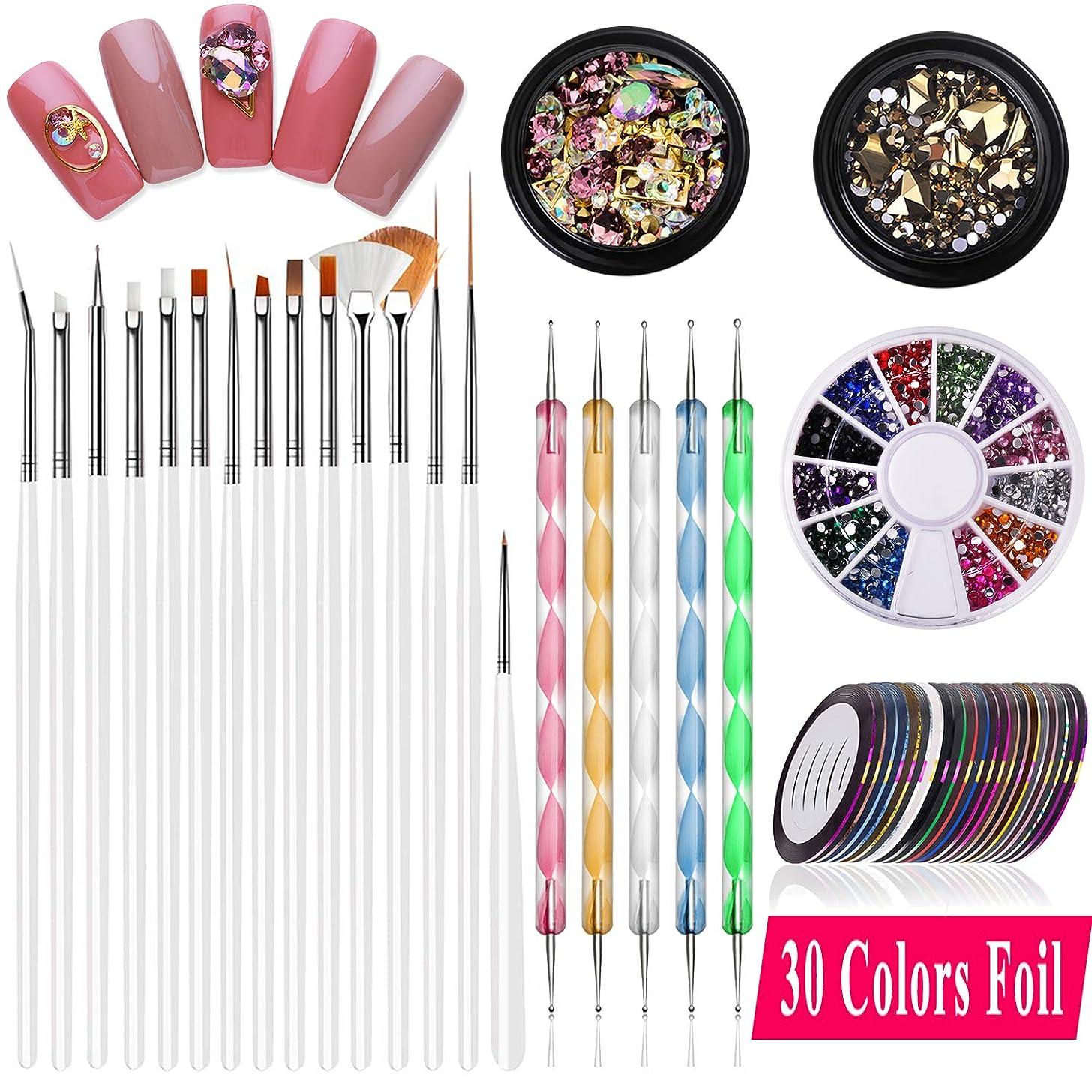 Nail Art supplies, JOYJULY 30 Striping tape & 15pcs nail art Brushes Set & 5pcs Dotting Pen & 3pcs 3D nail art Rhinestones Nail Art Kit tools accessories Decoration Diamond foil