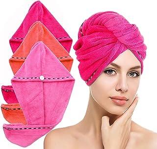 LayYun - Toalla de pelo para mujer, 3 piezas de microfibra súper absorbente de secado rápido turbante de cabello para secar pelo rizado, largo y grueso (3 piezas, naranja+rosa+rosa)