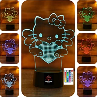 SERKYHOME 3D Illusion Lamp for Kids(Hello Kitty)