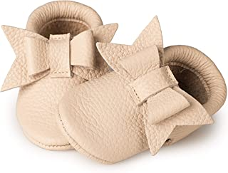 Littlebeemocs Bow Baby Moccasins (Italian Leather) Soft Sole Shoes for Girls | Infants, Babies, Toddlere (7, Beige)