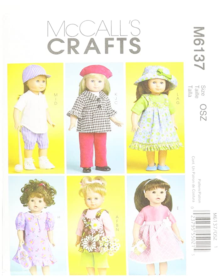 McCall's Patterns M6137 Doll Clothes for 18-Inch (46cm) Doll, One Size Only