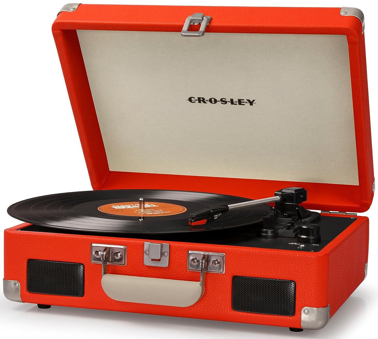 Crosley CR8005C-OR Cruiser II Portable Battery Powered 3-Speed Turntable, Orange