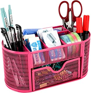 EasyPAG Mesh Desk Accessories Workspace Organizers 9 Compartment Pencil Holder Office Supplies Storage with Drawer ,Pink