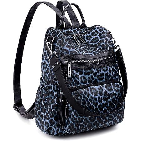 UTO Damen Rucksack Anti-Diebstahl Rucksack Umhängetasche Weiche Kunstleder Quasten Reisen Arbeit Mode Praktische Leopardenmuster Blau
