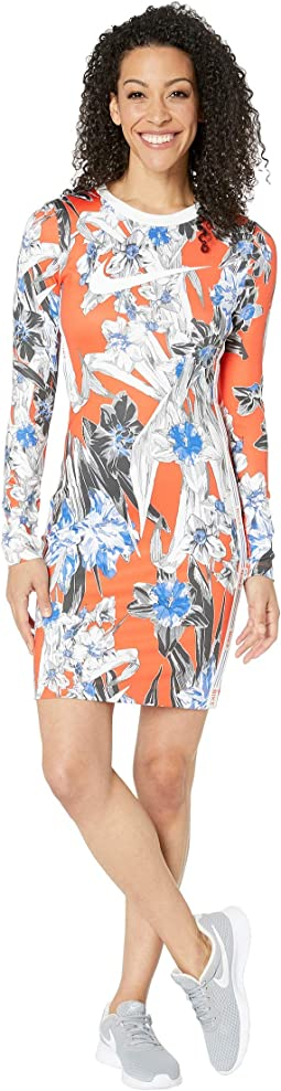 NSW Hyper Femme Dress Long Sleeve All Over Print
