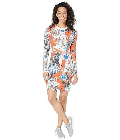 Nike NSW Hyper Femme Dress Long Sleeve All Over Print (Team Orange/White) Women