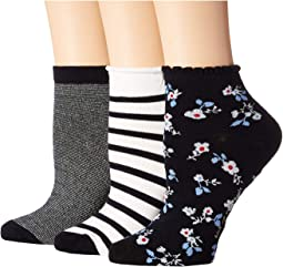 Stripe 3-Pack Anklet Socks