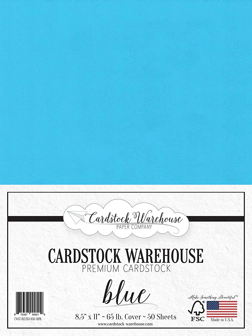 Blue Cardstock Paper - 8.5 x 11 inch - 65 lb. - 50 Sheets Premium Cover from Cardstock Warehouse