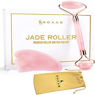 Soaab Rose Quartz Jade Roller and Gua Sha Massage Set Anti Aging Wrinkle Reduction Facial Roller for Face,Eyes,Neck - 100%...