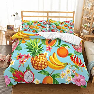 PATATINO MIO Fruits Duvet Cover Set Queen 3D Tropical Fruits Pineapple Banana Mango Papaya Dragon Red Pink Florals Bedspread Blue Bedding Set for Boys Girls Kids 3 Piece with 2 Pillow Sham