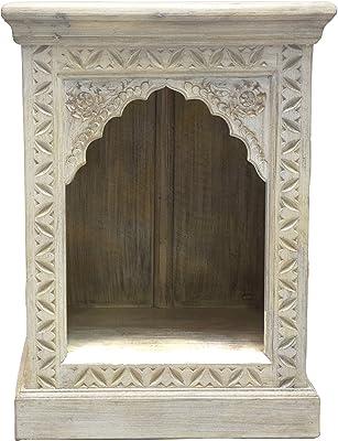 Orientalischer Holz Nachttisch Heba Weiß 60cm groß