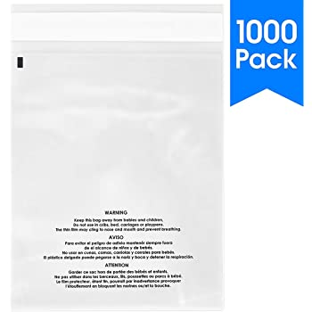 """1 SAMPLE 6x8 Self Seal Suffocation Warning Bags Clear AMAZON FBA APPROVED 6/""""x8/"""""""