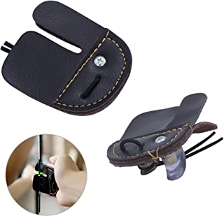 REAMTOP 2pcs Cow Leather Archery Finger Tab for Hunting Bow Archery Finger Protector