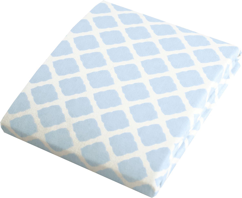 Kushies Baby Fitted Bassinet Sheet, Lilac Lattice Blue Lattice