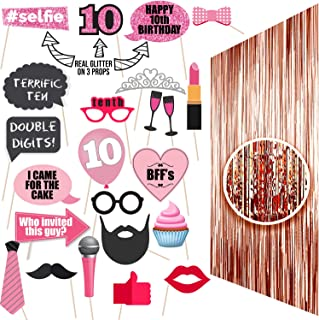 10th Birthday Photo Props | 10 Birthday Party Supplies | 10th Birthday Decorations | Rose Gold Backdrop Props and Photo Pr...