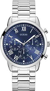 GUESS Men's 44mm Steel Bracelet & Case Quartz Blue Dial Analog Watch W1309G1
