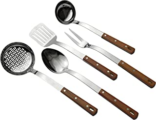 Home Kitchen Utensils 5-Piece Set of Classic Designed Wood Handle Cooking Accessories by Unique Effects Made of High-Grade FDA Tested Stainless Steel with Mirror Finish Polishing