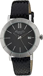 Kenneth Cole New York Women's Quartz Stainless Steel Case Leather Strap Black Casual Watch,(Model:KC2744)