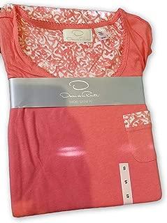 Oscar de la Renta Ladies 2-Pc Short Sleeve Top & Pajama Pant Set Coral (Small (4/6))