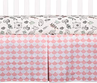 Lolli Living 100% Cotton Crib Bed Skirt (Kayden). Pink Scallop Pattern Machine-Washable Bed Skirt for Baby Crib