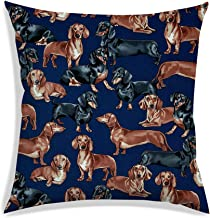RADANYA Dog Breeds Digitally Printed Cushion Cover Satin Fabric Teal Blue Square Bedding Throw Pillow Case 12X12 Inch